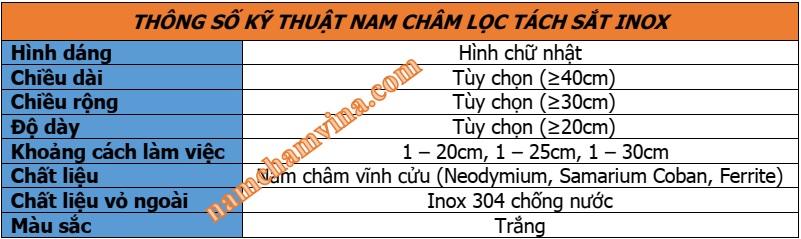 Thong-so-ky-thuat-nam-cham-loc-tach-sat-INOX