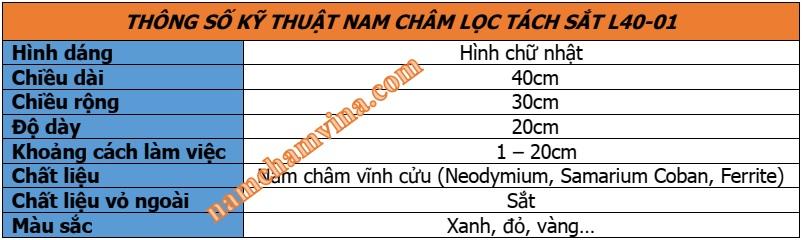 Thong-so-ky-thuat-nam-cham-loc-tach-sat-L40-01